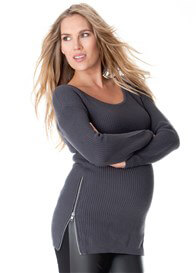 Queen Bee Hip Zip Maternity Knit Jumper in Graphite Grey by Seraphine
