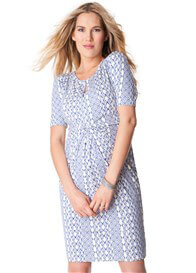 Queen Bee Blue Aztec Print Twist Front Maternity Dress by Seraphine