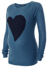 Queen Bee Tori Heart Maternity Knit Jumper in Teal Blue by Noppies
