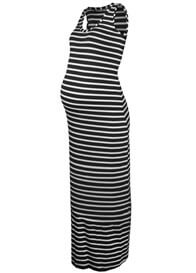Queen Bee Betty Maternity Maxi Tank Dress in Black Stripe by Queen mum