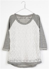 Queen Bee Mila Lace Front Maternity Sweatshirt in Grey/White by Queen mum