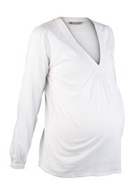 Queen Bee White Crochet Trim Maternity Blouse by Queen mum