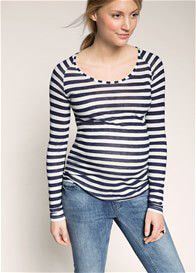 Queen Bee Navy Striped L/S Maternity T-Shirt by Esprit