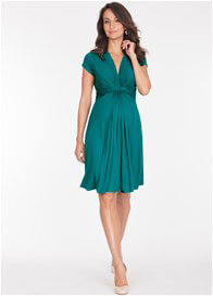 Queen Bee Peacock Green Knot Front Maternity Dress by Seraphine