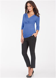 Queen Bee Pleated Maternity Nursing Top in Blue by Seraphine