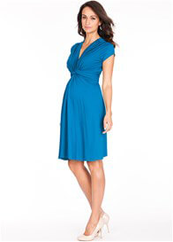 Queen Bee Seaside Blue Knot Front Maternity Dress by Seraphine