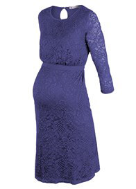 Queen Bee Diva Lace Maternity Nursing Evening Dress in Blue by Queen mum