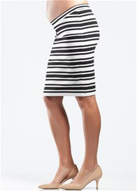 Queen Bee Black & White Striped Maternity Skirt by Soon Maternity