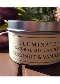Queen Bee Soy-based Candle in Tin w Coconut & Vanilla Fragrance by Illuminate