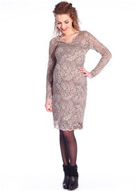 Queen Bee Beautiful Lace Maternity Evening Dress in Taupe by Queen mum