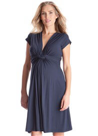 Queen Bee Navy Blue Knot Front Short Sleeve Maternity Dress by Seraphine