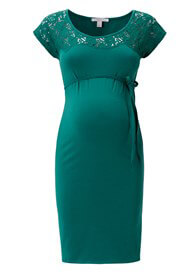 Queen Bee Lace Insert Maternity Party Dress in Green by Esprit