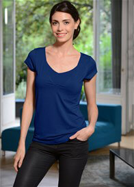 Queen Bee Milkizzy Lise Postpartum Nursing Top in Blue by Pomkin
