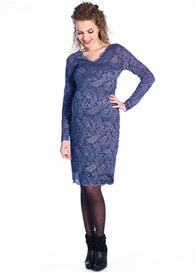 Queen Bee Beautiful Lace Maternity Evening Dress in Blue by Queen mum