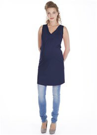 Queen Bee V-Neck Maternity Mini Dress in Dark Blue by Queen mum