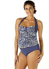 Queen Bee Under the Sea Blue Print Maternity Tankini Set by Pez DOr