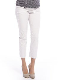 Queen Bee White Cotton Maternity Capri Pants by Queen mum