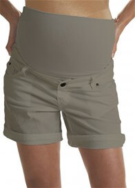 Queen Bee Cotton Maternity Shorts in Taupe by Queen mum