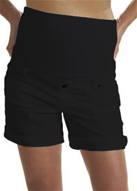 Queen Bee Black Cotton Maternity Shorts by Queen mum