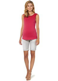 Queen Bee Eyelet Trim Sleeveless Maternity Top in Red by Esprit