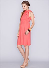 Queen Bee Cheryl Bamboo Maternity Nursing Dress in Coral by Dote Nursingwear