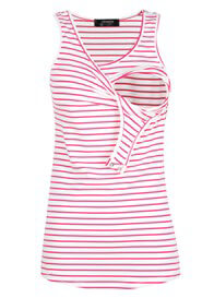 Queen Bee Amelia Nursing Tank Top in Pink Stripe by Trimester Clothing