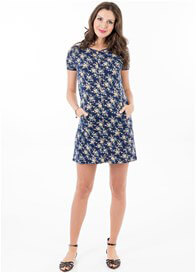 Queen Bee Grayson Postpartum Zip Nursing Dress in Navy Floral by Floressa