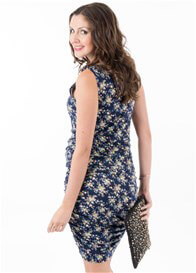 Queen Bee Hudson Maternity Nursing Tank Dress in Navy Floral by Floressa