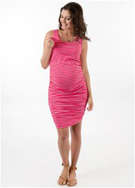 Queen Bee Landon Maternity Nursing Tank Dress in Pink Stripe by Floressa