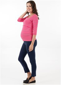 Queen Bee Jayce Navy Blue Maternity Capri Pants by Floressa