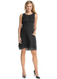 Queen Bee Flowing Chiffon Maternity Party Dress in Black by Esprit