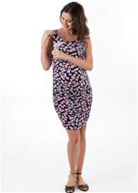 Queen Bee Camilla Maternity Nursing Tank Dress in Navy Floral by Trimester