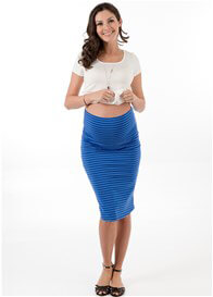 Queen Bee Madelyn Maternity Skirt in Blue Stripe by Trimester Clothing