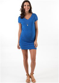 Queen Bee Kali Maternity Pocket Dress in Blue Stripe by Trimester Clothing