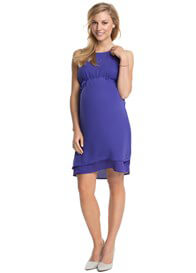 Queen Bee Flowing Chiffon Maternity Party Dress in Purple by Esprit