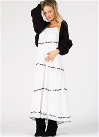 Queen Bee Twice More Embroidered Maternity Maxi Dress in White by Fillyboo