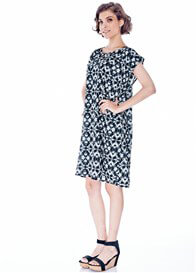 Queen Bee Lia Maternity Shift Dress in Blue Print by Imanimo