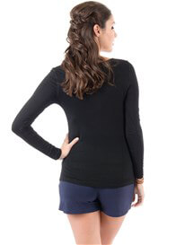 Queen Bee It Must Be Fate Long Sleeved Maternity Tee in Black by Trimester