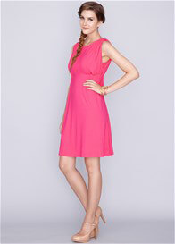 Queen Bee Celine Bamboo Maternity Nursing Dress in Fuchsia by Dote