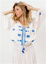 Queen Bee Almost Famous Blue/Cream Nursing Top by Fillyboo