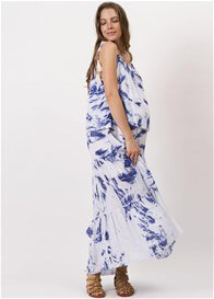 Queen Bee Bluebird Maternity Nursing Maxi Dress in Lagoon Batik by Fillyboo