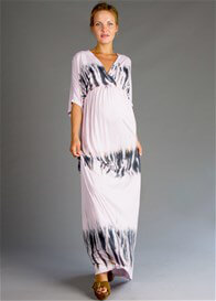 Queen Bee Kimono Maternity Maxi Dress in Lilac Batik by Fillyboo