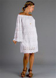 Queen Bee White Broderie Anglaise Dreamcatcher Maternity Dress by Fillyboo