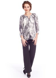 Queen Bee Chic Black Print Maternity Blouse by Queen mum