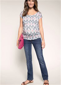 Queen Bee Stone Wash Flared Maternity Jeans by Esprit