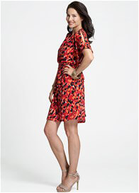 Queen Bee Lunar Breastfeeding Dress in Red Print by Milky Way