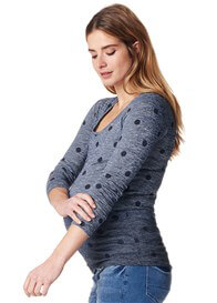 Queen Bee Blue Polkadot Maternity Pullover by Supermom