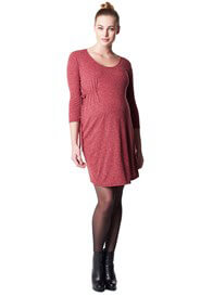 Queen Bee Elli Warm Red Melange Maternity Dress by Noppies