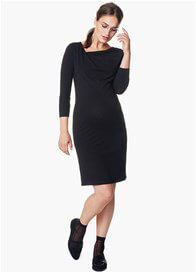 Queen Bee Sandra Asymmetric Neckline Maternity Dress in Black by Noppies