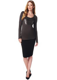 Queen Bee Textured Maternity Skirt in Black by Supermom